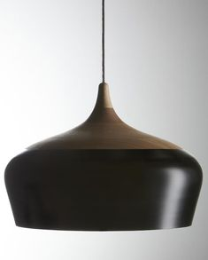 High/Low Wood and Metal Pendant Light