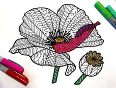 Poppy  Flower PDF Zentangle Coloring Page