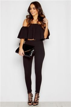 Lola Black Bardot Top & Trouser Set at misspap.co.uk