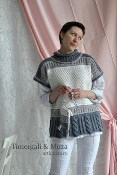 Knitted Sleeveless Jumper Loose Cut Over - Diy Crafts - The Knitting Time Gilet Crochet, Knit Crochet, Sweater Knitting Patterns, Baby Knitting, Sleeveless Jumper, Vest Pattern, Knit Fashion, Knitted Hats, Knitwear