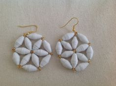 Flower paper bead earrings by MagdaCrafts on Etsy, £7.50