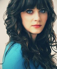 Zooey Deschanel // Photography // Portrait // Curly Hair // Blue Eyes // Brunette // The New Girl //