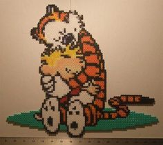 Calvin and Hobbes Perler Wall Decoration by beadforge