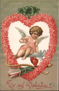 To My Valentine Cupid Postcard My Funny Valentine, Images For Valentines Day, Valentine Cupid, Valentines Greetings, Valentines For Kids, Valentine Craft, Valentine Hearts, Victorian Valentines, Vintage Valentine Cards