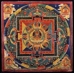 Amitayus Mandala. Tibetca. 14th century. Courtesy Rubin Museum of Art. Part of an exhibit of mandalas at the Carlos Museum at Emory University in Atlanta.