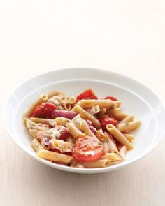 Whole-Wheat Penne with Tomatoes and Red Onion. We made this and it's easy and delicious.