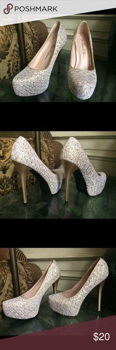 High heels Glittery heels never worn Shoes Heels