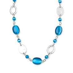 "-BLUE TAFFY- "" Bursts of blue cats-eye beads mingled with silver hoops and multi-dimensional discs make this vibrant necklace a favorite."" http://LMAWBY.mialisia.com"