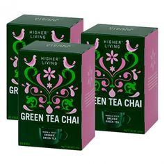 3x Higher Living Green Tea Chai Chai, Green, Products, Masala Chai