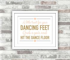 INSTANT DOWNLOAD - A little treat for your dancing feet - Printable Wedding Flip Flops Sign - Gold Blush Pink-Peach - DIY Digital Art File