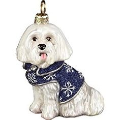 Maltese Christmas Ornament in Snowflake Coat with Crystals Polish Blown Glass Christmas Ornament