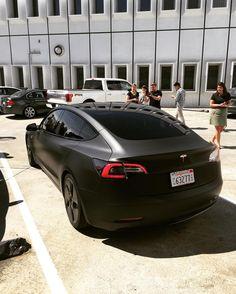Matte black #Tesla #Model3 spied
