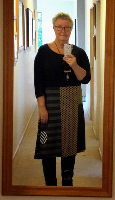 My up-cycled tunic dress made from an old knit top and T-shirts and scraps of fabric