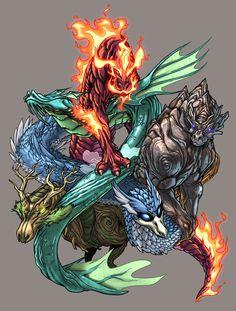 Elemental Dragons - Color by UdonCrew on deviantART