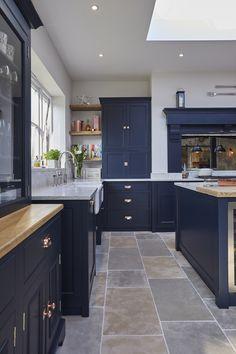 The main company Open Plan Kitchen Diner, Open Plan Kitchen Living Room, Kitchen Dining Living, Home Decor Kitchen, Kitchen Interior, Home Kitchens, Blue Kitchen Cabinets, Kitchen Utilities, Victorian Kitchen