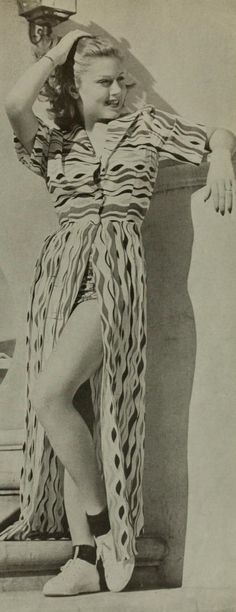 Lana Turner 40s lounge beach wear playsuit and ked tennis shoes white novelty print photo movie star print ad