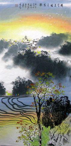 Village Countryside,68cm x 136cm(27〃 x 54〃),1095222-z