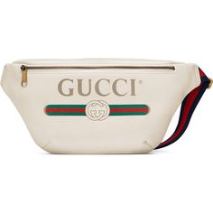 Gucci Logo Leather Belt Bag ($1,250) ❤ liked on Polyvore featuring bags, accessories, luggage & lifestyle bags, white, women, white leather belt, gucci, genuine leather belt, white bag and zipper bag