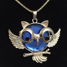 """Gold Tone Long Chain Owl Sweater Necklace ~ Blue Gold Tone Long Chain Owl Sweater Necklace ~ Pendant size 2.5"""" x 2"""" Jewelry Necklaces"""