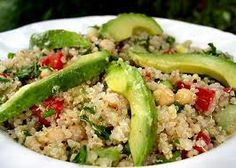 Quinoa Coconut Cilantro Pesto Salad  1 cup quinoa  1/2 cup Coconut Oil  1 avocado chopped  1 pint cherry tomatoes, halved  4-6 cloves garlic  1/2 cup cilantro  1/2 cup raw walnuts  Sea salt to taste.    Soak walnuts for 8 hours. Rinse.  Soak quinoa for an hour. Rinse.  Cook quinoa. Put cooked quinoa aside in a bowl.  In a blender, combine walnuts, garlic, and Coconut Oil. Blend until smooth. Add cilantro and salt, blend.  Combine quinoa, pesto, avocado, and tomatos. Serve chilled.