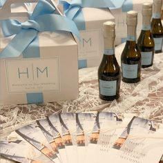 Modern Monogram Wedding Welcome Boxes - Hotel Welcome Boxes for Wedding Guests - Gable Boxes, Ribbon & Labels