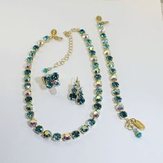 Teal Green set Aqua Blue Necklace  Ab Necklace 8mm by TIMATIBO