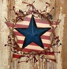 Americana Barn Star Twig Berry Decoration