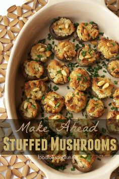 Make Ahead Stuffed Mushrooms with Goat Cheese and Pine Nuts: a great Thanksgiving appetizer that you can make the day before. | www.foodfolksandfun.net | #EverythingButTheTurkey