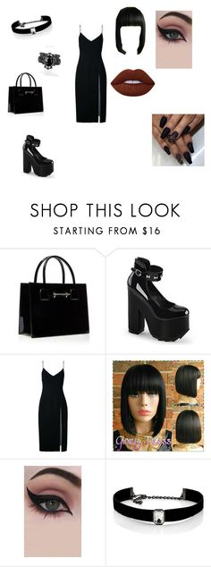 """""""Goth"""" by elenatsr on Polyvore featuring Christopher Esber, Concrete Minerals, Kenneth Jay Lane, Lime Crime, chic, goth and polyvorefashion"""
