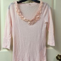 J. Crew pale pink top J. Crew pale pink 3/4 sleeve top w/ruffle neckline. Light weight fabric. Could wear alone or easily layered. EUC - no flaws. Size S. Please ask any questions prior to purchasing. Thank you! J. Crew Tops