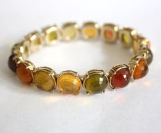 Vintage Liz Claiborne Earth Tone Fall Colors Peridot Jewel Stretch Bracelet Jewelry Green Red Orange Yellow - pinned by pin4etsy.com