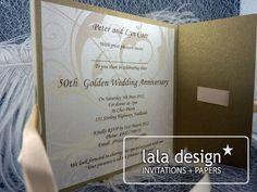 Gold flourish wedding anniversary invitation