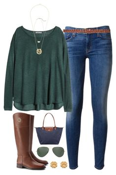 """layered necklaces"" by tabooty ❤ liked on Polyvore featuring Hudson, H&M, Kendra Scott, Tory Burch, Longchamp, Ray-Ban and Zara"