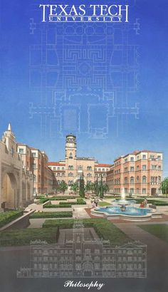 Texas Tech University, English/Philosophy/Education Quad - Proposal render - And I thought the real thing was hideous. Texas Tech University, Quad, Proposal, Philosophy, English, Education, History, Building, Travel