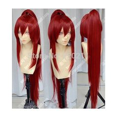 fairy tail erza rouge foncé écarlate partie cosplay perruque vocaloid... ❤ liked on Polyvore featuring accessories