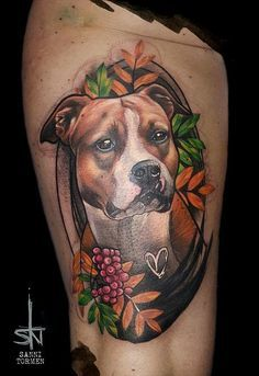 Dog animal Amstaff american staffordshire terrier portrait realistic freestyle tattoo by Sanni Tormen from Berlin (and on the road)