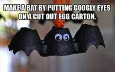 Bat Ornament made from egg carton