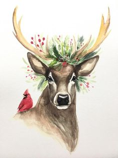 All Decked Out, Christmas deer -You can find Aquarell weihnachten and more on our website.All Decked Out, Christmas deer - Watercolor Christmas Cards, Christmas Drawing, Christmas Paintings, Etsy Christmas, Christmas Deer, Christmas Cross, Outdoor Christmas, Christmas Ornaments, Christmas Wreaths