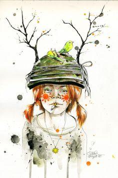 Desenhos em aquarela por Lora Zombie
