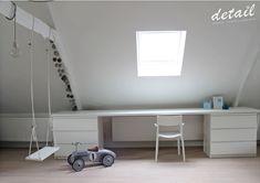 Bureau op zolderkamer. #schommel #zolderkamer #swing #自分でやれ #庭の装飾 #装飾のアイデア #家の装飾のアイデア #家の装飾のアイデアのリビングルーム #室内装飾