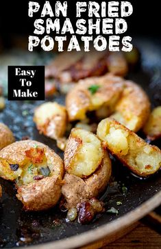 These Crispy Pan Fried Potatoes make the perfect side dish for dinner or breakfast. Crispy on the outside and fluffy on the inside, a real family favorite! Fried Potatoes Recipe, Fried Red Potatoes, Crushed Potatoes, Biscuit Recipes Uk, Potato Recipes, Veggie Recipes, Crispy Breakfast Potatoes, Breakfast Dishes, Dinner Dishes