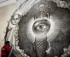 https://flic.kr/p/TNMvVD | Alexis Diaz #alexisdiaz #ostende #oostend #belgique #belgium #crystalship #urbanart #streetart #wall #mural #fresque #inprogress #atwork #eye #mysticeyes