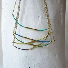 multi-color hexi necklaces by bird + beau  - #birdandbeau #handmade #jewelry #shoplocal #raleigh #northcarolina #recycled #oneofakind