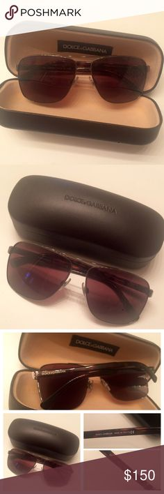 """Dolce & Gabbana Sunglasses """"A modern sun style, this chic squared shape in metal with double bridge features the iconic Sicilian hinge. The Dolce & Gabbana logo appears on each elegant temple."""" Brown lenses w/tortoise colored arms. Unisex. My bf wore them once & I've worn them twice. Perfect w/no scratches. 100% authentic!!! Comes w/case & box. Eye Size:60 Bridge/Temple:14/145 Dolce & Gabbana Accessories Sunglasses"""