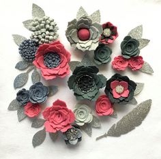 Hand made pink/grey felt 3d flowers/roses & glitter leaves. Felt flower crown, flower headbands, flower garland, baby headbands, felt posies by cutzbothways on Etsy
