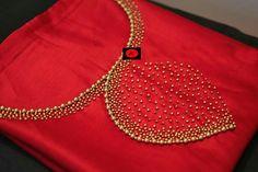 Red Hand work Silk K urti Embroidery On Kurtis, Hand Embroidery Dress, Kurti Embroidery Design, Embroidery Neck Designs, Bead Embroidery Patterns, Embroidery Works, Aari Embroidery, Hand Work Design, Hand Work Blouse Design