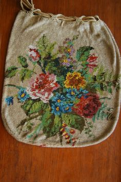 Gorgeous Antique Glass Beaded Purse Drawstring Flowers 1880's #Drawstring