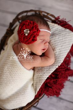 Red White Velvet Pearls Rhinestone Christmas Holiday Headband Baby Girls Toddlers Photography Prop Boutique Flower Floral. $9.99, via Etsy.