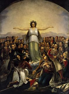 Grateful Hellas (Greece personified as a woman, with revolutionaries who participated in the Greek War of National Gallery of Athens; Greek Independence, Greek Flag, National Gallery, Classical Period, Greek History, Greek Culture, Angeles, Greek Art, See Images
