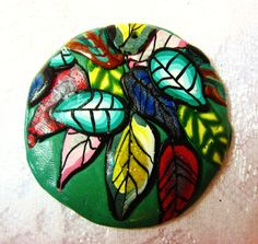 made by Donna DeCicco  Unisex Falling Leaves Green Polymer Clay Pendant by FabulousDesign, $4.99
